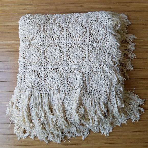 Handmade Other - Handmade Boho Fringed Ivory Crochet Coverlet